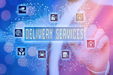 Text sign showing Delivery Services. Business photo showcasing process of transporting goods from a source to destination System administrator control, gear configuration settings tools concept