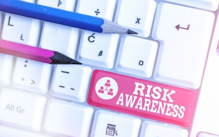 Text sign showing Risk Awareness. Business photo showcasing recognizing factors that may cause a lifethreatening effect White pc keyboard with empty note paper above white key copy space
