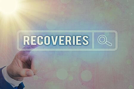 Writing note showing Recoveries. Business concept for process of regaining possession or control of something lost Web search digital information futuristic technology network connection
