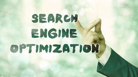 Conceptual hand writing showing Search Engine Optimization. Concept meaning Increase of business website traffic and analytics