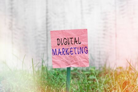Conceptual hand writing showing Digital Marketing. Concept meaning promotion of products or brands using electronic devices Plain paper attached to stick and placed in the grassy land