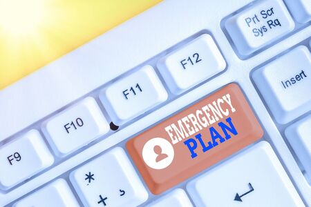 Conceptual hand writing showing Emergency Plan. Concept meaning instructions that outlines what workers should do in danger White pc keyboard with empty note paper above white key copy space Stock Photo