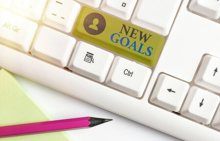 Word writing text New Goals. Business photo showcasing a list of clearlydefined plans that an individual should attain