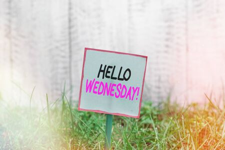 Word writing text Hello Wednesday. Business photo showcasing it is a good day when you reach in the middle of the week Plain empty paper attached to a stick and placed in the green grassy land Banco de Imagens - 150087725