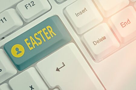 Word writing text Easter. Business photo showcasing holiday commemorating the resurrection of Jesus from the dead