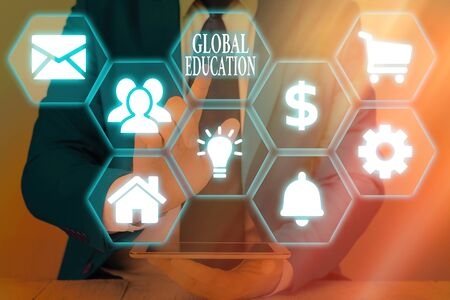 Writing note showing Global Education. Business concept for interdisciplinary approach to learning concepts necessary
