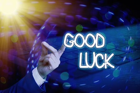 Conceptual hand writing showing Good Luck. Concept meaning expressing hope for someone to be successful with their circumstances