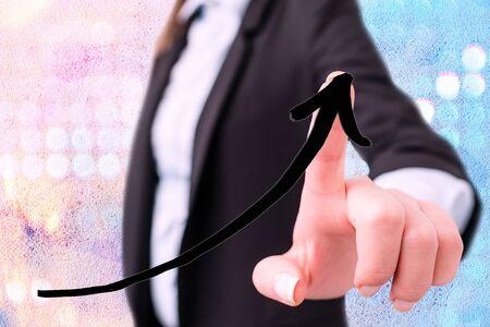 Digital Arrowhead Curve Rising Upward Denoting Growth Development Concept