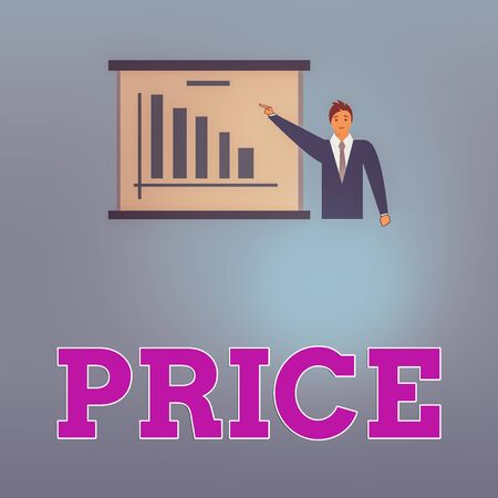 Handwriting text Price. Conceptual photo sum of values that customer gives up to gain the benefits of having Man in Business Suit Standing Pointing a Board with Bar Chart Copy Space 免版税图像