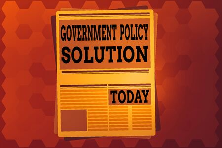 Text sign showing Government Policy Solution. Business photo text designed game plan created in response to emergency disaster Newspaper Page Layout with Blank Headlines Article and column Format