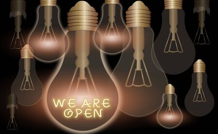 Text sign showing We Are Open. Business photo text no enclosing or confining barrier, accessible on all sides Realistic colored vintage light bulbs, idea sign solution thinking concept Archivio Fotografico