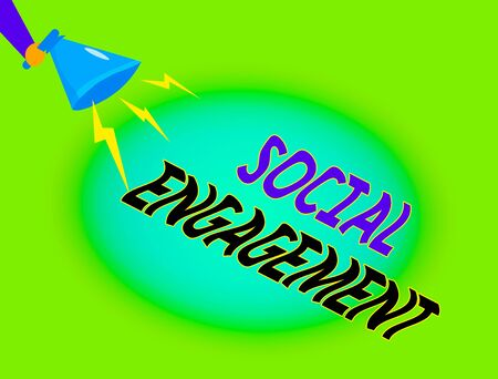 Writing note showing Social Engagement. Business concept for refer to degree of participation in a community or society Hu analysis Holding Megaphone with Lightning Sound Effect