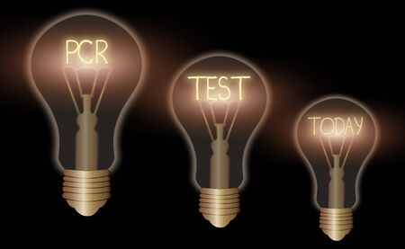 Writing note showing Pcr Test. Business concept for qualitative detection of viral genome within the short seqeunce of DNA Realistic colored vintage light bulbs, idea sign solution
