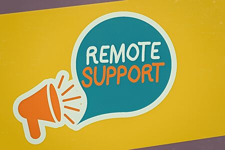 Conceptual hand writing showing Remote Support. Concept meaning type of secure service, which permits representatives to help Megaphone and Tablet Horizontally Resting on Stand Holder