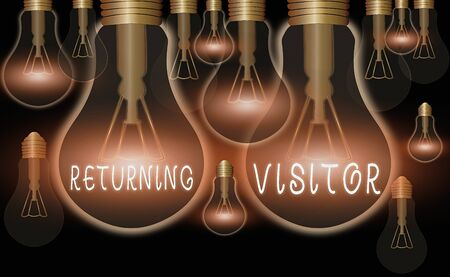 Writing note showing Returning Visitor. Business concept for who had visited before and come back to your site Stock Photo