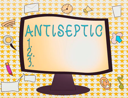 Word writing text Antiseptic. Business photo showcasing antimicrobial agents that delays or completely eliminate the microorganism Web Application Software icons Surrounding Blank Mounted Computer Monitor