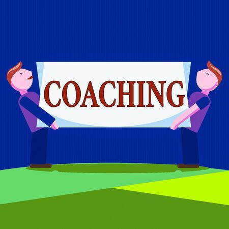 Conceptual hand writing showing Coaching. Concept meaning unlocking an individuals potential to maximize their own performance Two Men Carrying Rectangular Blank Panel Board on Both Sides