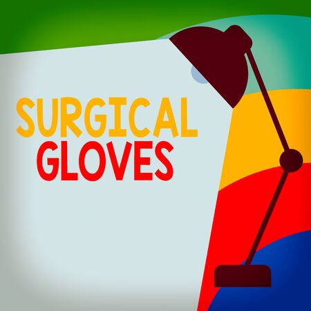 Text sign showing Surgical Gloves. Business photo showcasing to protect from the exposure to infectious materials Table Pendant Lampshade Adjustable with Light Beam Ray space for Text