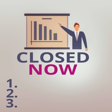 Text sign showing Closed Now. Business photo text of a business having ceased trading especially for a short period Man in Business Suit Standing Pointing a Board with Bar Chart Copy Space Фото со стока