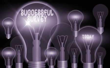 Writing note showing Successful Survey. Business concept for generate high response rate allow more efficient analysis Realistic colored vintage light bulbs, idea sign solution