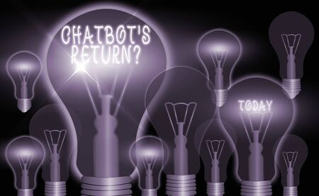 Writing note showing Chatbot s is Return Question. Business concept for program that communicate use text interface and AI Realistic colored vintage light bulbs, idea sign solution