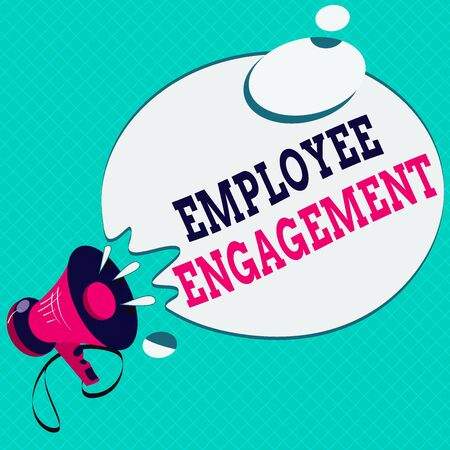 Conceptual hand writing showing Employee Engagement. Concept meaning extent to which workers feel passionate about their jobs Megaphone with Sound Effect Round Halftone Thought Bubble