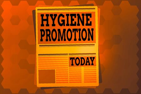 Text sign showing Hygiene Promotion. Business photo text systematic program to prevent related disease with sanitation Newspaper Page Layout with Blank Headlines Article and column Format
