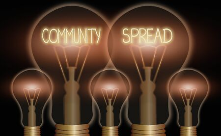 Conceptual hand writing showing Community Spread. Concept meaning dissemination of a highlycontagious disease within the local area Realistic colored vintage light bulbs, idea sign solution Reklamní fotografie