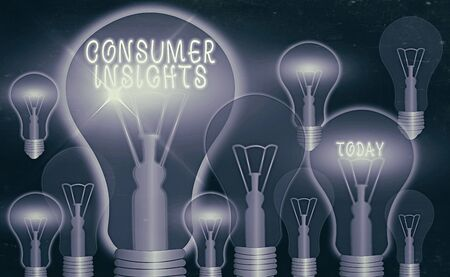 Writing note showing Consumer Insights. Business concept for behavior that aims to increase effectiveness of a product Realistic colored vintage light bulbs, idea sign solution