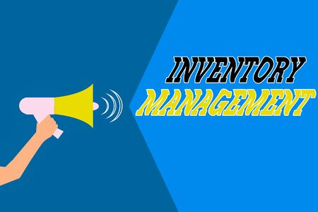 Word writing text Inventory Management. Business photo showcasing supervision of noncapitalized assets and stock items Hu analysis Hand Holding Megaphone with Sound Volume Effect icon Text Space Banque d'images