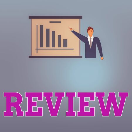 Handwriting text Review. Conceptual photo evaluates the work in questionbased on its strong and weak points Man in Business Suit Standing Pointing a Board with Bar Chart Copy Space Reklamní fotografie