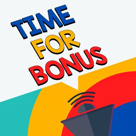Text sign showing Time For Bonus. Business photo showcasing Limited exclusive offer, extra discounts, crazy deal Megaphone Halftone with Sound icon and Blank Geometric Speech Bubble Foto de archivo