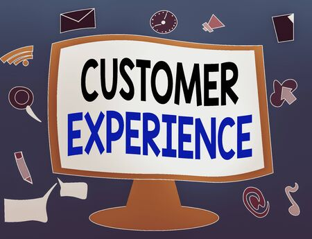 Writing note showing Customer Experience. Business concept for phrase to describe relationship user has with business Web Application Software icons Surrounding Computer Monitor
