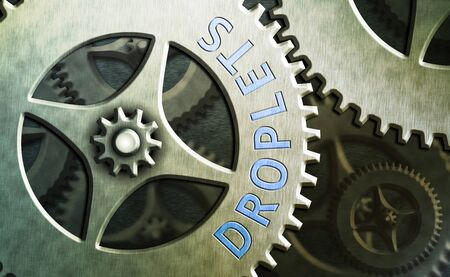 Writing note showing Droplets. Business concept for very small drop of a liquid can be found in certain wet places System administrator control, gear configuration settings tools concept