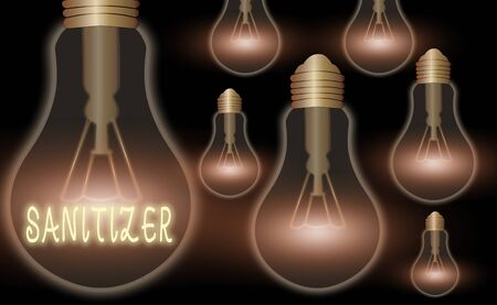 Writing note showing Sanitizer. Business concept for liquid or gel generally used to decrease infectious agents Realistic colored vintage light bulbs, idea sign solution Foto de archivo