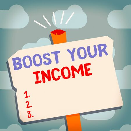 Text sign showing Boost Your Income. Business photo text improve your business to increase revenue or profit Blank Old Weathered Signpost Geometrical Shape Halftone with One stand