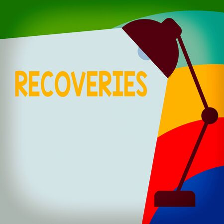 Text sign showing Recoveries. Business photo showcasing process of regaining possession or control of something lost Table Pendant Lampshade Adjustable with Light Beam Ray space for Text