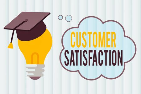 Text sign showing Customer Satisfaction. Business photo showcasing number of users whose experience ratings exceed goals 3D Graduation Cap Thinking Resting on Bulb with Blank Cloud Thought Bubble