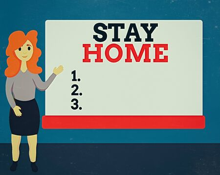 Handwriting text Stay Home. Conceptual photo not go out for an activity and stay inside the house or home Female Hu analysis Standing Hand Presenting Rectangular Blank Whiteboard
