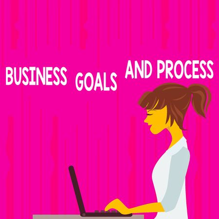 Text sign showing Business Goals And Process. Business photo text company planning and strategies to accomplish photo of Young Busy Woman Sitting Side View and Working on her Laptop