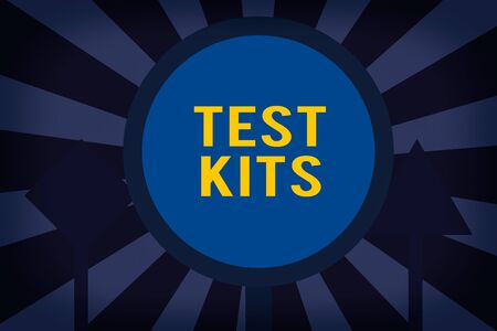 Text sign showing Test Kits. Business photo showcasing tools used to detect the presence of something in the body Three Blank Safety Road signs One lighted and two dark Street Signage