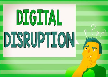 Writing note showing Digital Disruption. Business concept for occur when technologies affect value proposition of goods Man Expressing Hand on Mouth Question Mark icon Text Bubble Imagens