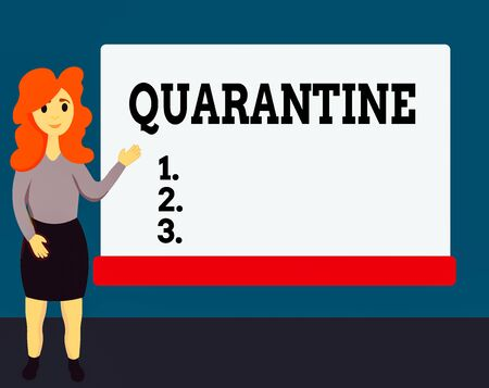 Handwriting text Quarantine. Conceptual photo restraint upon the activities of an individual or the transport of goods Female Hu analysis Standing Hand Presenting Rectangular Blank Whiteboard
