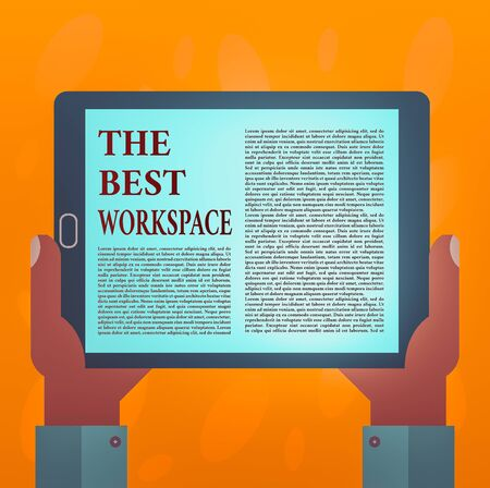 Writing note showing The Best Workspace. Business concept for Comfortable Working Conditions for Company Employees Hu analysis Hand Holding Tablet Smartphone Display Unit photo