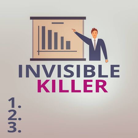 Text sign showing Invisible Killer. Business photo text presence into the air of a substance which are harmful Man in Business Suit Standing Pointing a Board with Bar Chart Copy Space