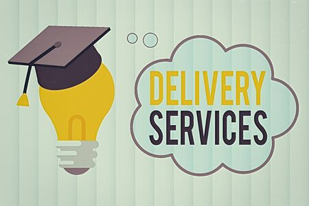 Text sign showing Delivery Services. Business photo showcasing process of transporting goods from a source to destination 3D Graduation Cap Thinking Resting on Bulb with Blank Cloud Thought Bubble Banco de Imagens