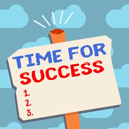 Text sign showing Time For Success. Business photo text business financial marketing banking advertising web Blank Old Weathered Signpost Geometrical Shape Halftone with One stand Stockfoto