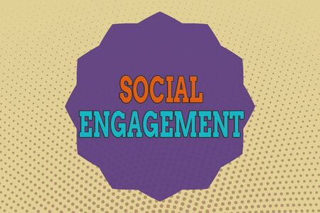 Conceptual hand writing showing Social Engagement. Concept meaning refer to degree of participation in a community or society Twelve 12 Pointed Star Dodecagon in Zigzag effect Polygon