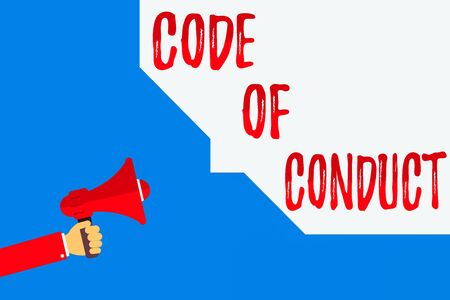 Word writing text Code Of Conduct. Business photo showcasing set of principles are ethics, respect, code, honesty, and integrity Hu analysis Hand Holding Megaphone and Blank Geometric shape Half Speech Bubble Foto de archivo