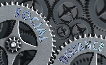Word writing text Social Distance. Business photo showcasing maintaining a high interval physical distance for public health safety System administrator control, gear configuration settings tools concept Stock Photo